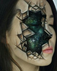 Carry the Stars within – Geniales Halloween Make. Carry the Stars within – Geniales Halloween Makeup für Nicht-gruselig Fans Sfx Makeup, Cosplay Makeup, Costume Makeup, Makeup Art, Makeup Ideas, Makeup Designs, Eyebrow Makeup, Makeup Tutorials, Crazy Makeup
