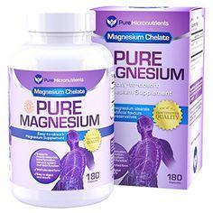 Pure Magnesium - Premium Gentle Magnesium Glycinate (Albion Chelated Magnesium), 180 Count *** Click image for more details. Magnesium For Sleep, Best Magnesium, Magnesium Citrate, Magnesium Supplements, Tension Migraine, Magnesium Glycinate, How To Increase Energy