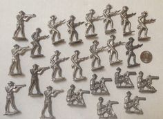 Lot of 22 Vintage Lead Toy Soldiers - Flats with WWI Uniforms
