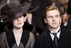 Michelle Dockery as Lady Mary Crawley and Dan Stevens as Matthew Crawley in Downton Abbey