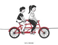 Que no se acaben estos viajes juntas | Facebook: https://www.facebook.com/crisgarabatos.mx/ | #illustration #bicycle #best #friends #ilustración #bicicleta #amigas #amistad #friendship #girls
