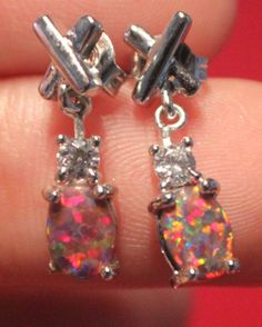 fire opal Cz earrings Gemstone silver jewelry cocktail petite stud style A0LE #Stud