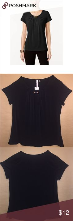NY Collection Pleated Hardware Trim Top Black Pleated Trim Top with silver buckle in the center of the neckline. Perfect for work, church or party attire. NY Collection Tops Blouses