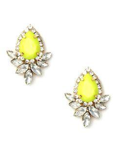 The Neon Yellow Jewel Earrings by JewelMint.com, $42.00