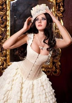 02 chic and sexy steampunk bride in a ruffled dress with a corset and a hat - Weddingomania Steampunk Wedding Dress, Steampunk Dress, Steampunk Fashion, Lula Roe Outfits, Girl Outfits, Retro Wedding Theme, Lacy Wedding Dresses, Korean Fashion Dress, Dresses For Work