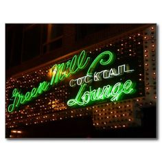Green Mill, Chicago, Vintage Neon Sign Postcard