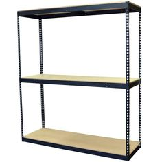96 in. H x 72 in. W x 24 in. D 3-Shelf Steel Boltless Shelving Unit with Double Rivet Shelves and Laminate Board Decking, Powder Coated Steel Color Gray