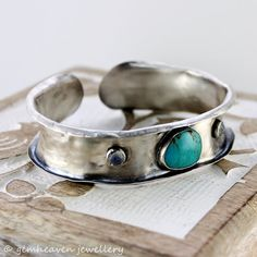Sterling silver and Turquoise Anticlastic  Cuff Bracelet with hallmark -  Silver relic - on Etsy, $237.89