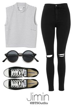 """BTS NOW 3 Inspired: Jimin"" by btsoutfits ❤ liked on Polyvore featuring Topshop, Converse and Monki"