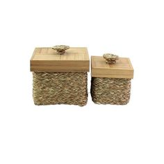 NOVICA 2 All Purpose Hand Woven Boxes Natural Fibers with Bamboo ($60) ❤ liked on Polyvore featuring home, home decor, small item storage, brown, decor accessories, decorative boxes, novica home decor, indian home decor, novica and bamboo home decor