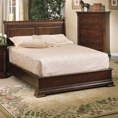 Classic Cherry Low Profile Sleigh Bed by Winners Only | Wooden Bed Headboard Sleigh Frame