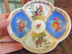 Antique Dresden Quatrefoil Helena Wolfsohn Blue Demitasse Cup And Saucer 2