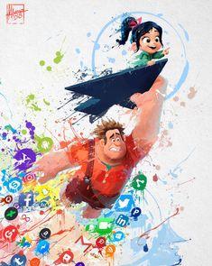 Ralph Breaks The Internet - Splash Art, Mayank Kumarr Film Disney, Disney Animated Movies, Disney Fan Art, Disney Movies, Disney Pixar, Disney Characters, Disney Images, Disney Pictures, Cute Disney Wallpaper