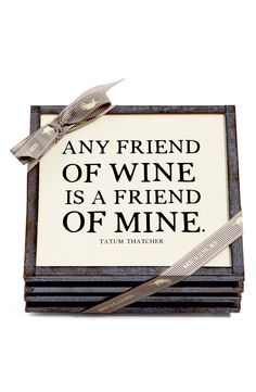 Adoring these antique copper framed coasters printed with a witty quote that's sure to delight any wine connoisseur.
