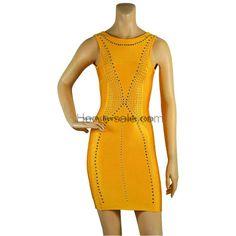 Herve Leger Yellow Matellic Beads Bandage Dress HL619Y