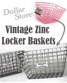 Faux Vintage Zinc Locker Baskets (Ballard Designs Knock Off)  sc 1 st  Pinterest & The Lucky Clover Trading Co: LOTS of inexpensive baskets trays and ...