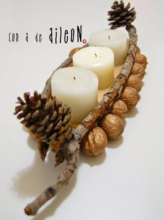 Recycled candleholder with cupcake blister, branches, pine cones and nuts DIY