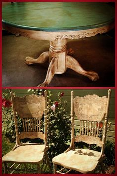 One of a kind distressed vintage claw foot table, two chairs. Hand painted w/ Annie Sloan chalk paint, finished with clear and dark wax. Furniture Fix, Funky Furniture, Refurbished Furniture, Furniture Projects, Furniture Makeover, Vintage Furniture, Painted Furniture, Annie Sloan Chalk Paint Furniture, Chalk Paint Projects