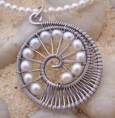 wire worked pendant with pearls