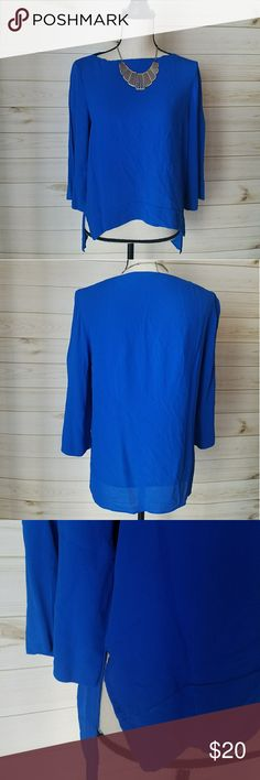 "💙Zara Top💙 Cobalt blue top Great condition  100% Viscose  20"" pit to pit  23"" Long  3/4 sleeve  💛Like 🖒 what you 👀 but not the 💲make me an reasonable offer. Don't be shy 😄💚 Zara Tops Blouses"
