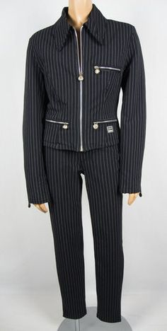 VERSACE JEANS COUTURE Pant Suit Set 28 / 42 S Quilted Jacket Logo 100% Authentic