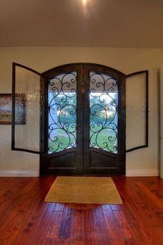 Best And Popular Front Door Door Gate Design, Windows And Doors, House Doors, Entrance Doors, Front Door, Double Doors Exterior, House Paint Exterior, Iron Entry Doors, Metal Door