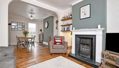 3 bedroom House for sale in Southlands Road, Bromley (Sold) Victorian Living Room, Cottage Living Rooms, Living Room Paint, Living Room With Fireplace, Home Living Room, Living Room Designs, Living Room Knock Through, Victorian Terrace Interior, Piece A Vivre