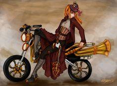 André-Mathilde - steampunk portrait on a steampunk art nouveau motorcycle - from missarsenia on deviantart