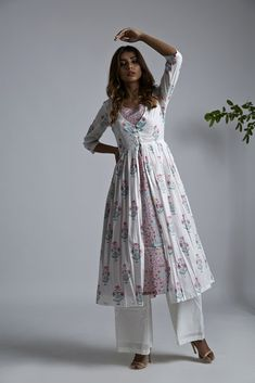 Off White Pink Hand Block Printed Mulmul Jacket - zora Kurti Neck Designs, Kurta Designs Women, Kurti Designs Party Wear, Dress Indian Style, Indian Dresses, Indian Outfits, Pakistani Fashion Casual, Indian Fashion, Casual Dresses