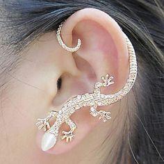 BaoGuang®1PCS Beautiful Zircon Alloy Gecko Pattern Earrings - USD $ 1.79