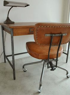 Leather desk chair - Truck furniture (Japan) #athomewithSA
