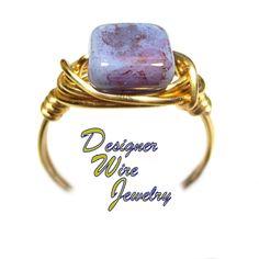 DWJ0564 Lovely Wisteria Spring Czech Art Glass Gold Wire Wrapped Ring All Sizes