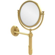 Tribecca Collection Wall-Mounted Make-Up Mirror, 8 inch Diameter with 3x Magnification (Build to Order), Silver