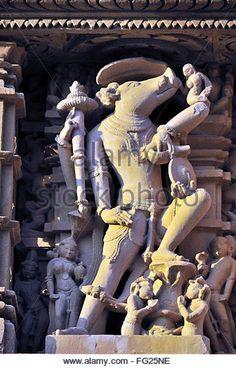 varaha incarnation of vishnu on wall of jagadambi temple Khajuraho madhya pradesh india - Stock Image