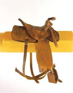 Dollhouse Miniature Artisan Aged Brown Leather Saddle 1:12 Scale