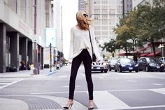 Fall Outfit, Winter Outfit, Ivory Sweater, Black Skinny Jeans, Valentino Rockstud Pumps, Chloe Faye Handbag, Red Lipstick