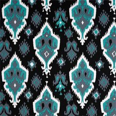 Jade Green, Black and White Native American Ikat Drape, One Rod Pocket Curtain Panel 120 inches long x 50 inches wide ZB Lifestyle