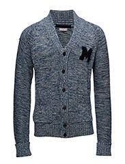 Flecked cotton-blend cardigan - NAVY