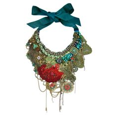 """Textile Jewelry KRISTA R- EE  """"Based in Tallinn, Estonia, Krista R handcrafts elaborate, romantic textile jewelry pieces using materials culled from her treasure trove of vintage fabrics, lace, beads, gems, and much more"""""""