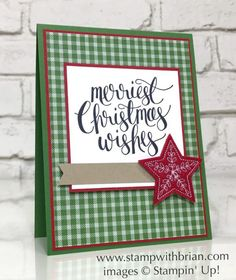 Christmas card layout with star and plaid