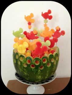 Mickey Mouse fruit bowl- so cute- like the idea with sticks of fruit sticking out and the circles cut into the watermelon. could adapt to anything really (Mickey Mouse Cake Pops) Mickey Mouse Baby Shower, Mickey Mouse Clubhouse Party, Mickey Mouse Parties, Mickey Party, Elmo Party, Dinosaur Party, Mickey Mouse Treats, Anniversaire Theme Minnie Mouse, Pastel Mickey