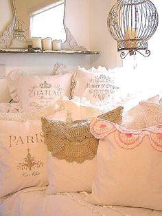 Linen pillows at www.cutepinkstuff.com