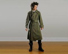 Carnival of the Maniac / vintage military trench coat army drab green belted waist Korean War era medium 38R
