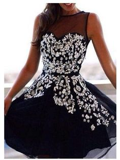3be209911ff480 AHC068 New Arrival Dark Navy Appliques Homecoming Dresses 2017. Schattige  JurkjesBruid JurkenMini ...