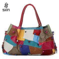 AliUSAExpressFashion Patchwork Genuine Leather Women Handbag Brand Design Tote Shoulder Bag Women Messenger Bag High Quality | AliUSAExpress