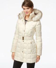 Betsey Johnson Faux-Fur-Hood Belted Puffer Coat