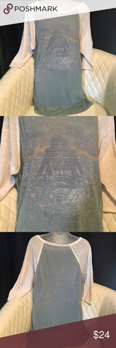"""We the Free tshirt We the Free baseball tshirt. 3/4 length sleeve. Sheer burnout. Shoulder to hem 30.5"""". Some all over pilling and several thread pulls on the back (shown in pic) Free People Tops Tees - Long Sleeve"""
