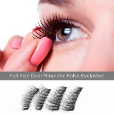 Dual Magnetic Full Size False Eyelashes Extension Set 4 pieces  Handmade 3D Fake Magnetic Lashes for Natural Look  Reusable and Easy to Apply Ultra Thin Dual Magnet System  Soft  #MagneticEyelashesIdeas