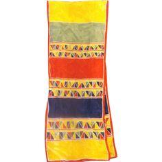 Vera Silk Scarf Bright Blocks Triangles Red Blue Yellow