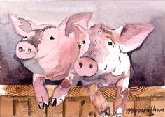 ACEO Limited Edition 10/25- Good morning,Art print of an 2.5 x 3.5 inches original watercolor painting, Pig painting, Gift for animal lovers
